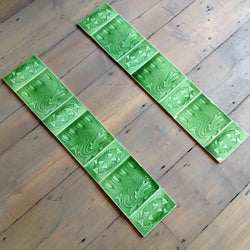 Antique green nouveau fireplace tiles