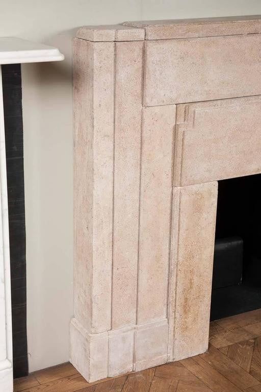 Pair of original stone Art Deco fireplace surrounds