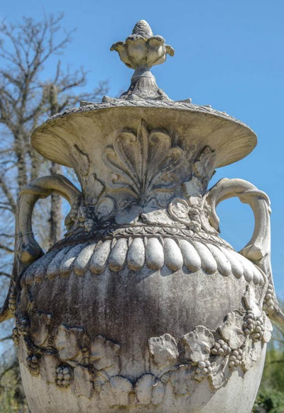 French Baroque Style Stone Urns on Plinths - The Architectural Forum