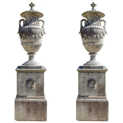 French Baroque Style Stone Urns on Plinths - architectural-forum