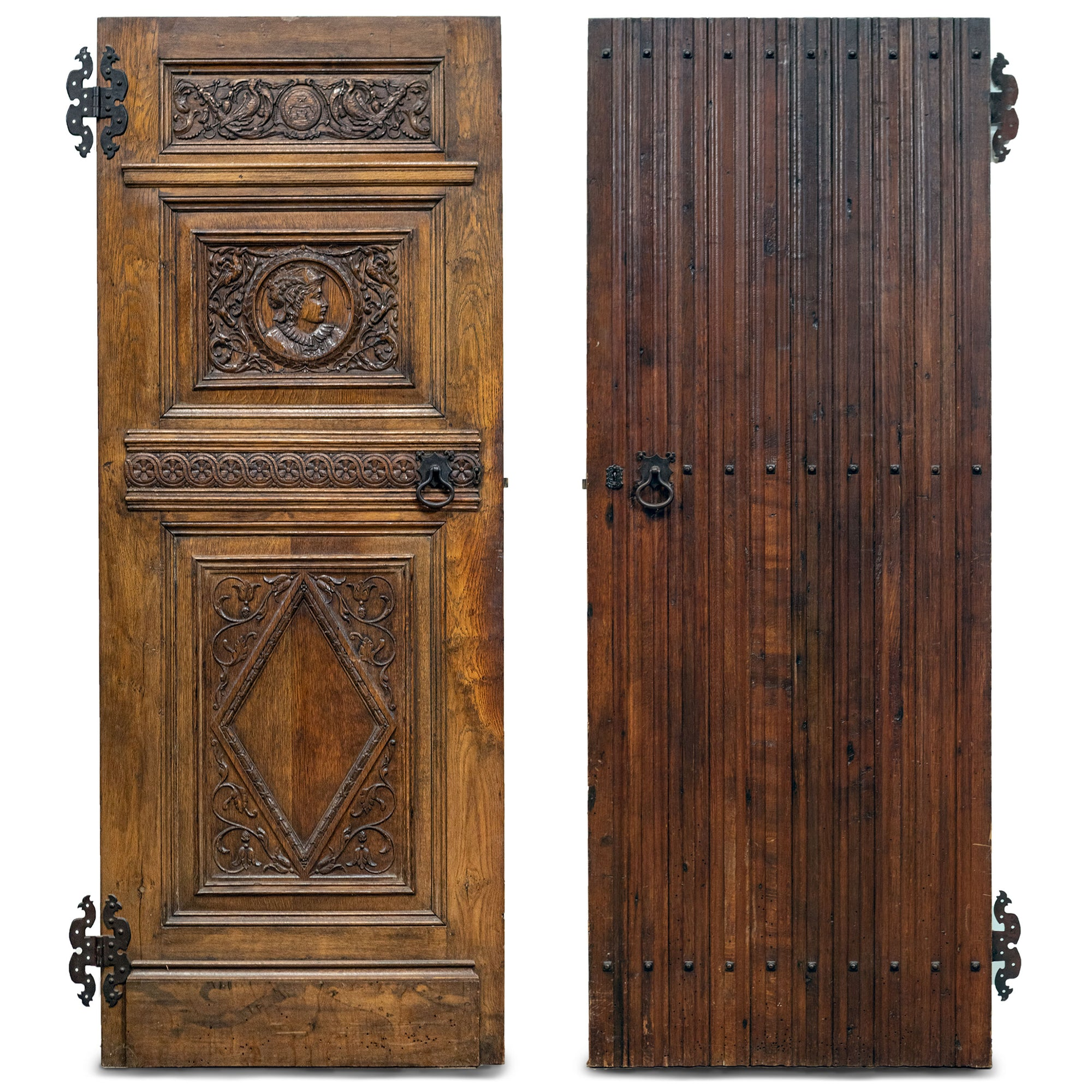 Antique Jacobean Style Carved Oak Panelled Door