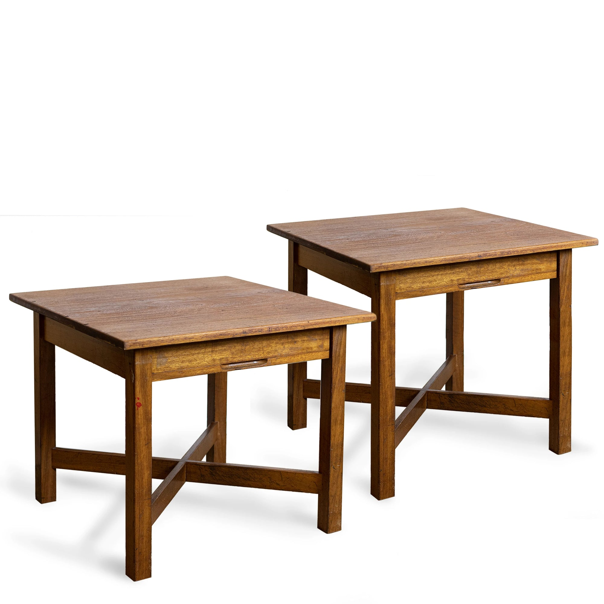 Reclaimed Vintage Solid Teak Square Tables | Desks with Drawer (many available) | The Architectural Forum