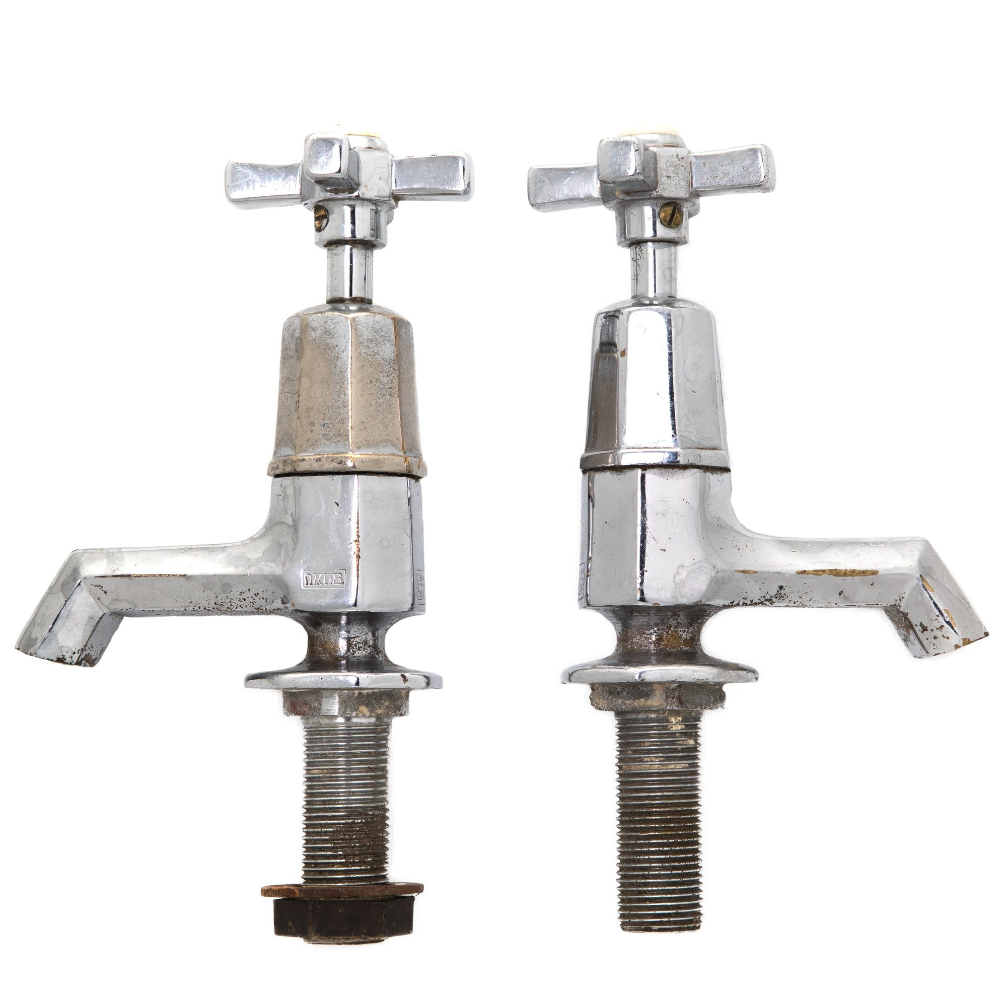 Pair of Reclaimed Art Deco Chrome Taps