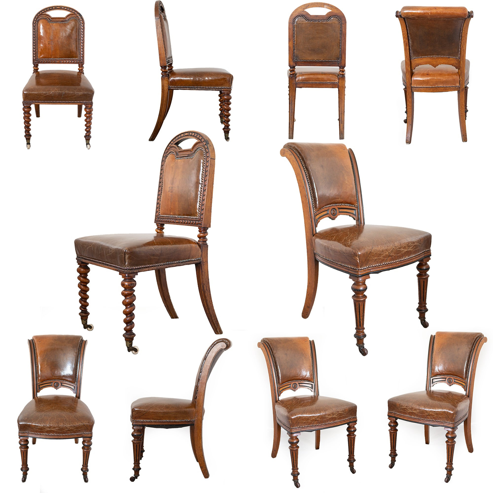 Antique Victorian Oak & Leather Dining Chairs (set of 10)