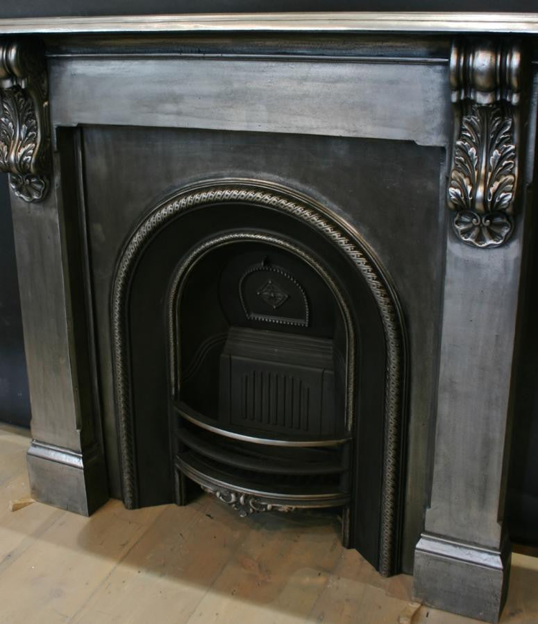 Antique Victorian Polished Cast Iron Corbel Fire Surround