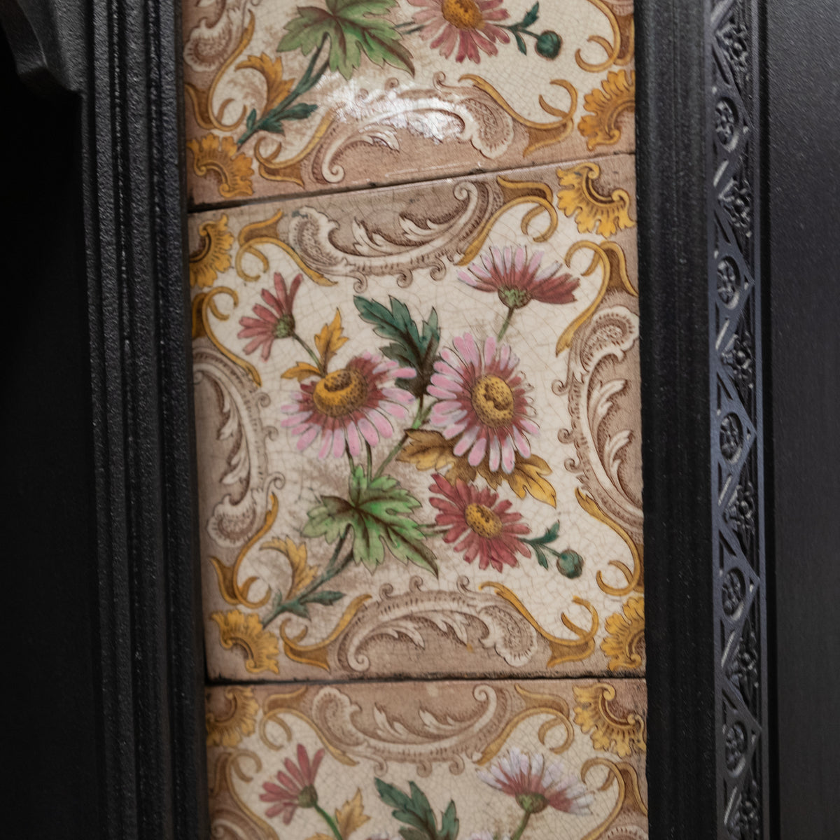 Antique Victorian Tiled Cast Iron Fireplace Insert | The Architectural Forum
