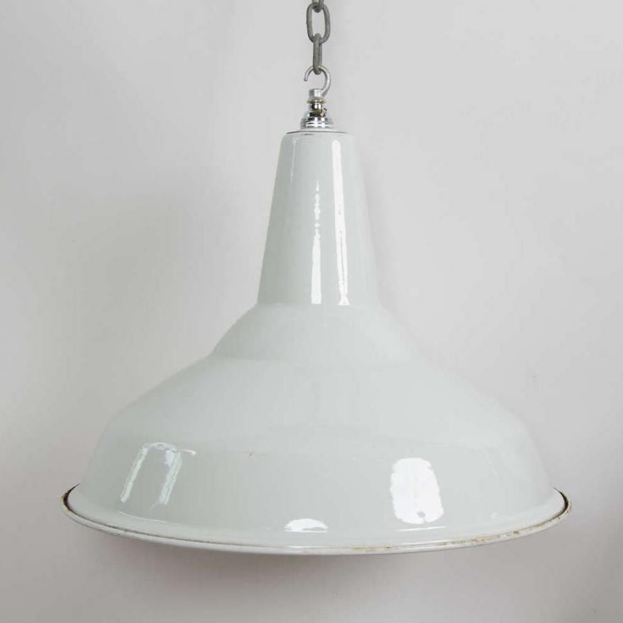 Reclaimed White Enamel Vintage Industrial Shades - architectural-forum