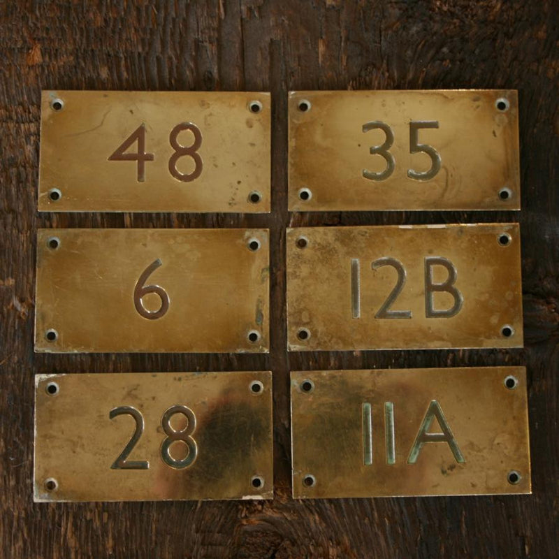 Vintage Brass Door Number Plates