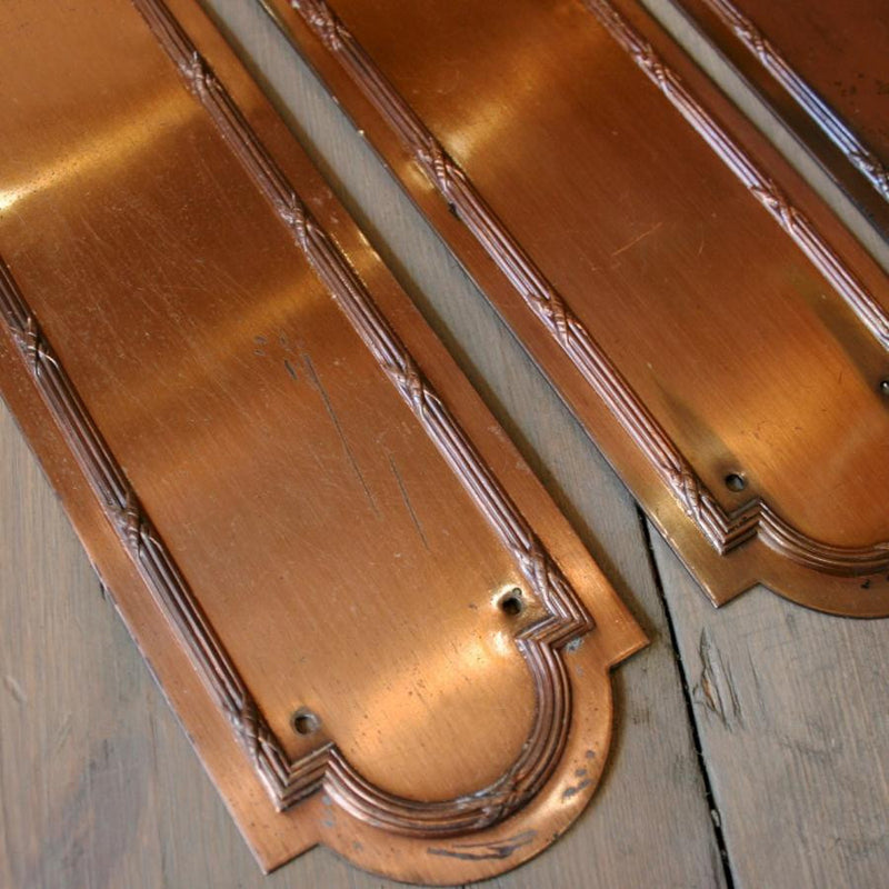 Set of 9 Vintage Copper Finish Fingerplates