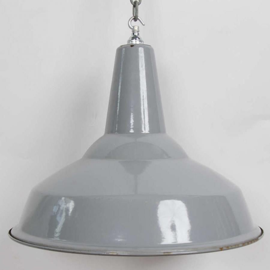 Reclaimed Grey Enamel Vintage Industrial Light Shades - architectural-forum