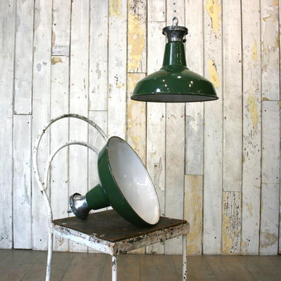 Vintage industrial green enamel light shades