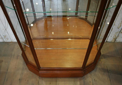 Vintage Hexagonal Mahogany Vitrine Display Case