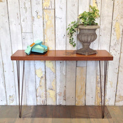 Vintage teak hairpin leg console table