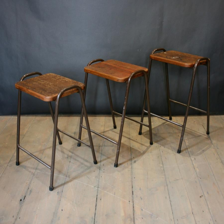 Vintage Teak Top Tubular Stacking Stools (>100 available) | The Architectural Forum