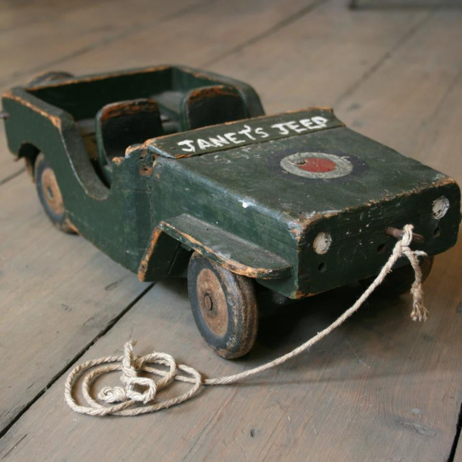 Vintage wooden toy jeep