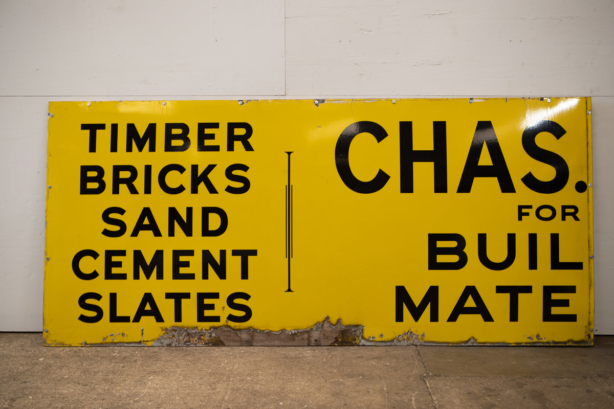 Large Reclaimed Enamel Yellow London Shop Sign | The Architectural Forum