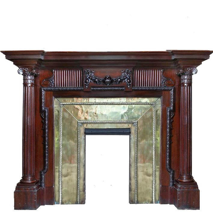 Antique Mahogany Fireplace with Brass Insert - The Architectural Forum