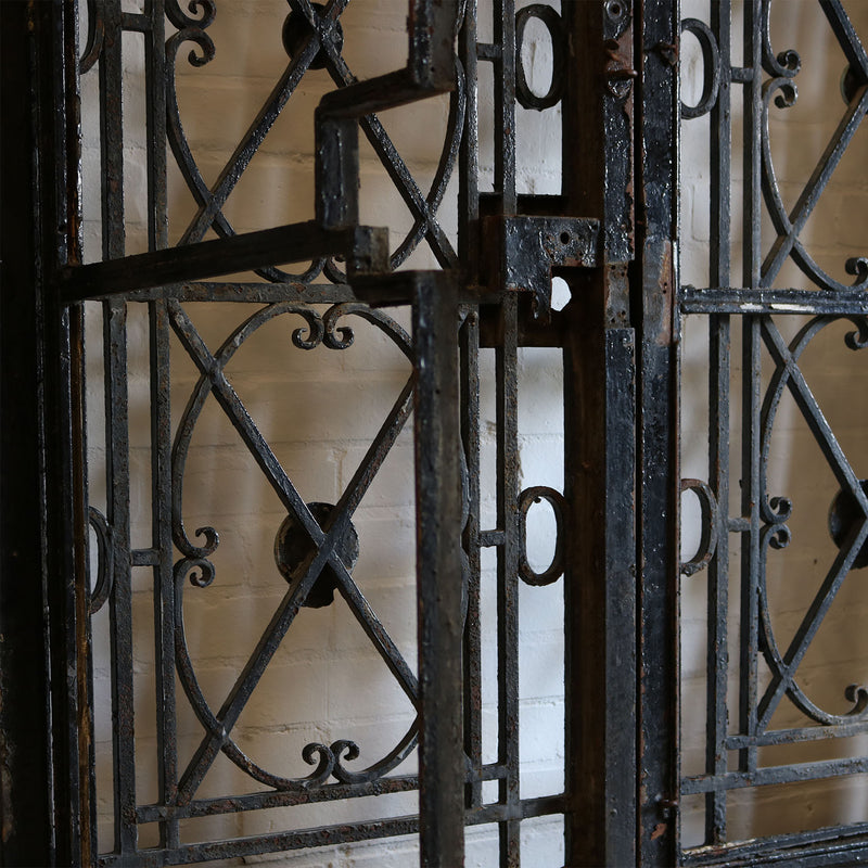 Antique Hand Forged Wrought Iron Gates with Glass Door - architectural-forum