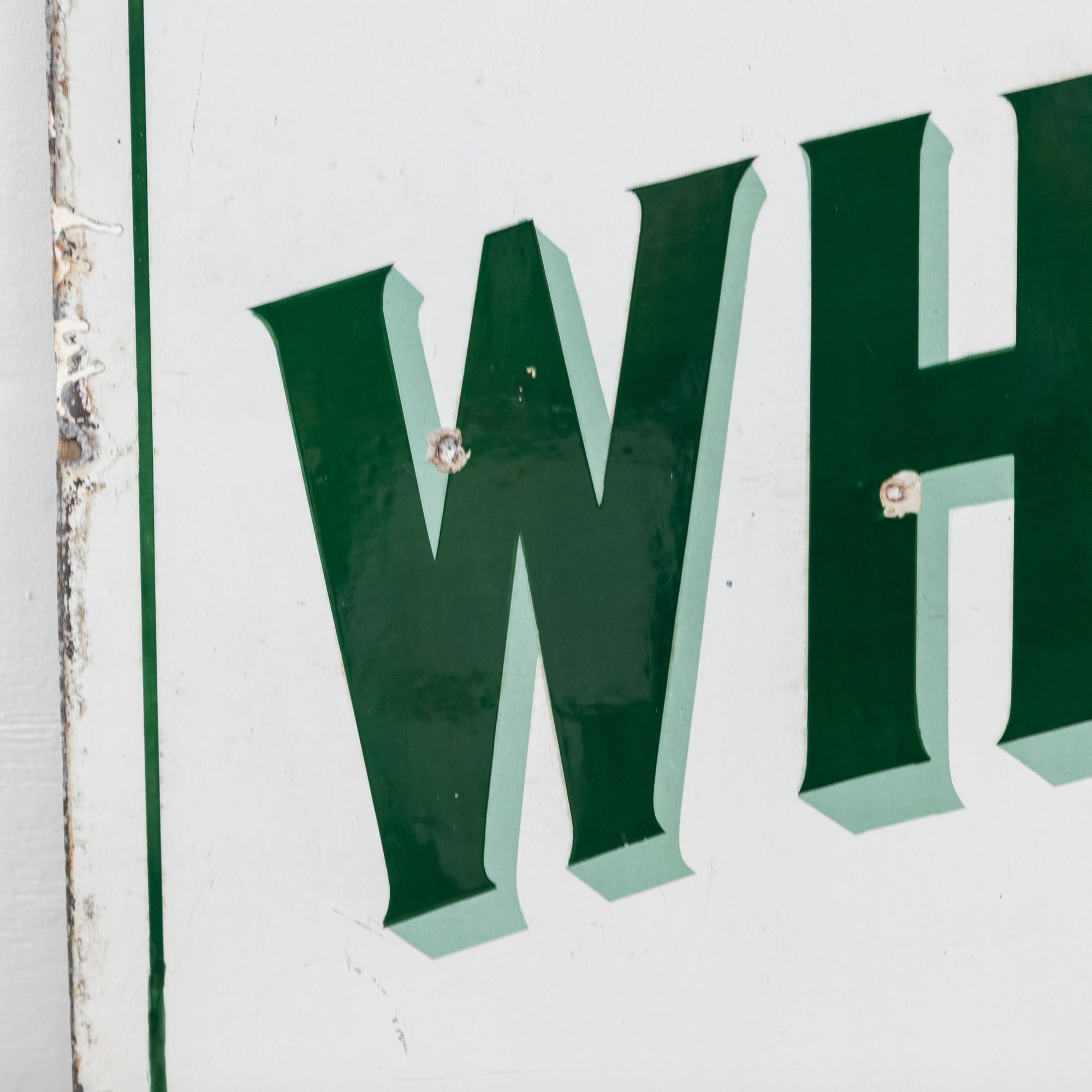 Vintage Enamel Green & White London Ironmonger Shop Sign