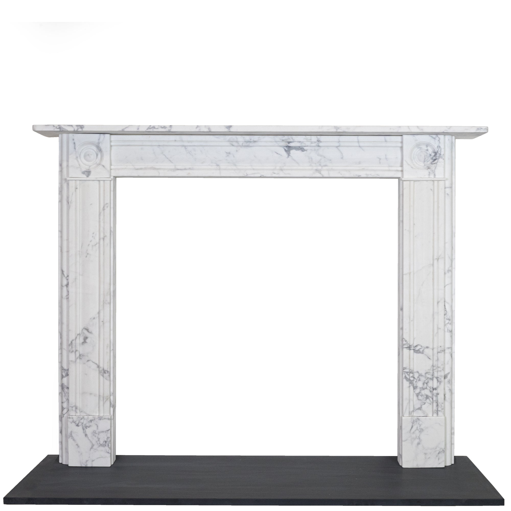Georgian Style Bullseye Statuary Marble Fireplace Surround