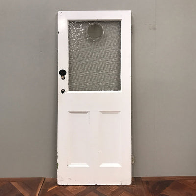 panelled door with frosted window