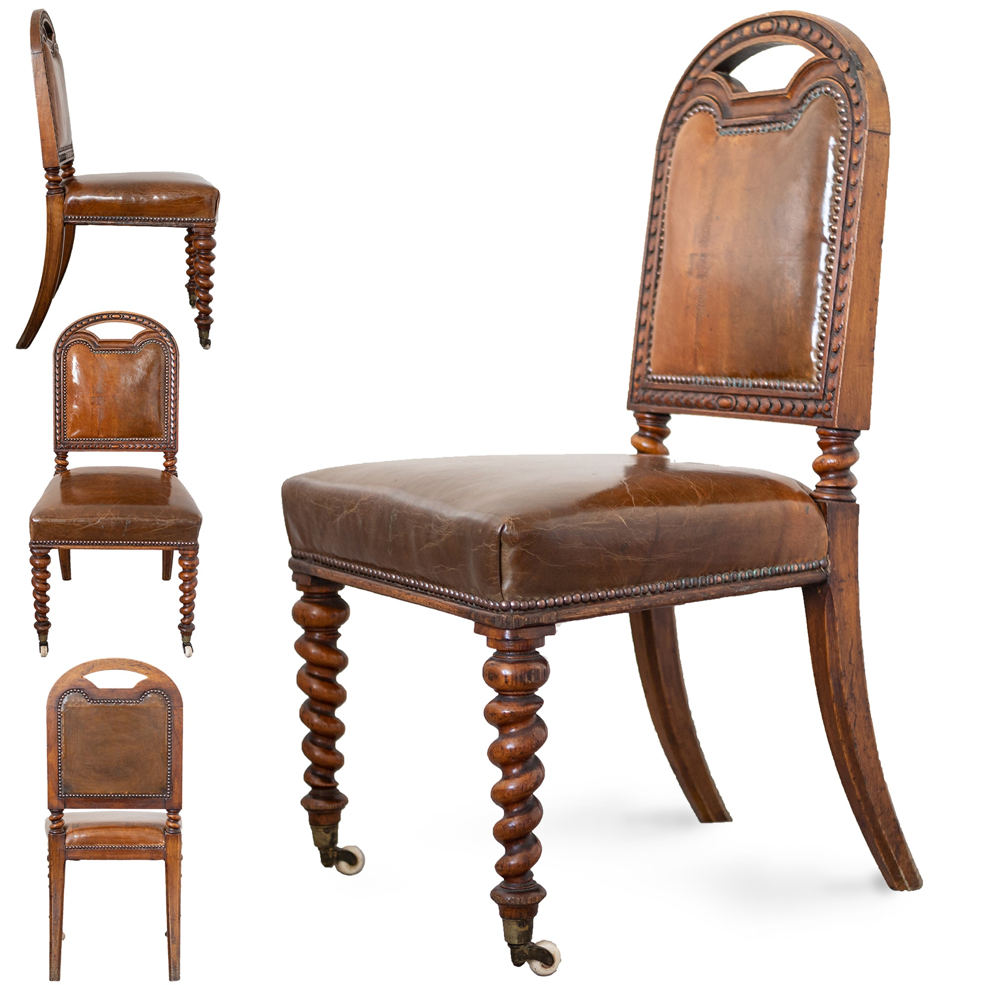 Set of 4 Antique Victorian Oak & Leather Dining Chairs with Turned Legs | The Architectural Forum