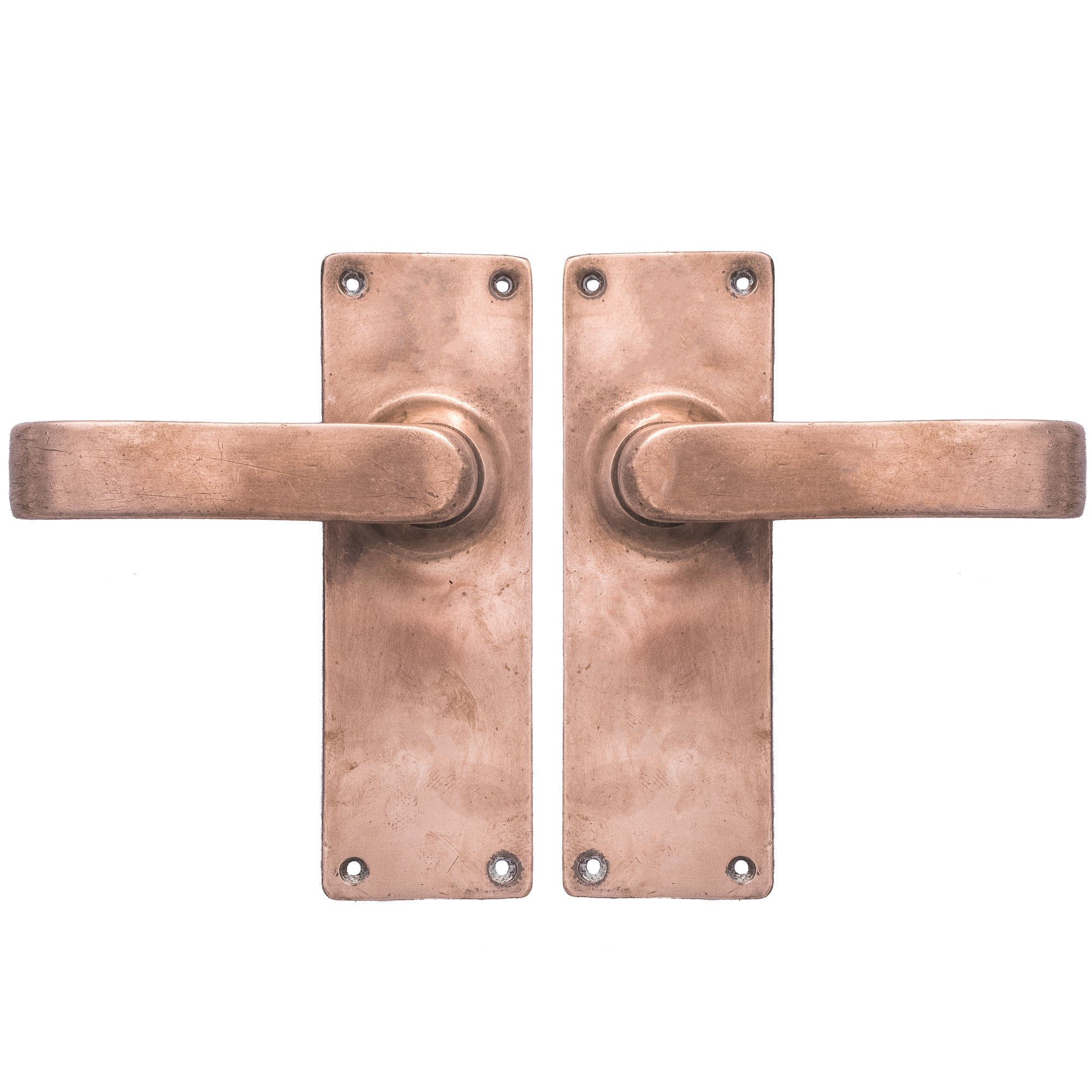 Reclaimed Art Deco Rose Brass Lever Door Handles - architectural-forum