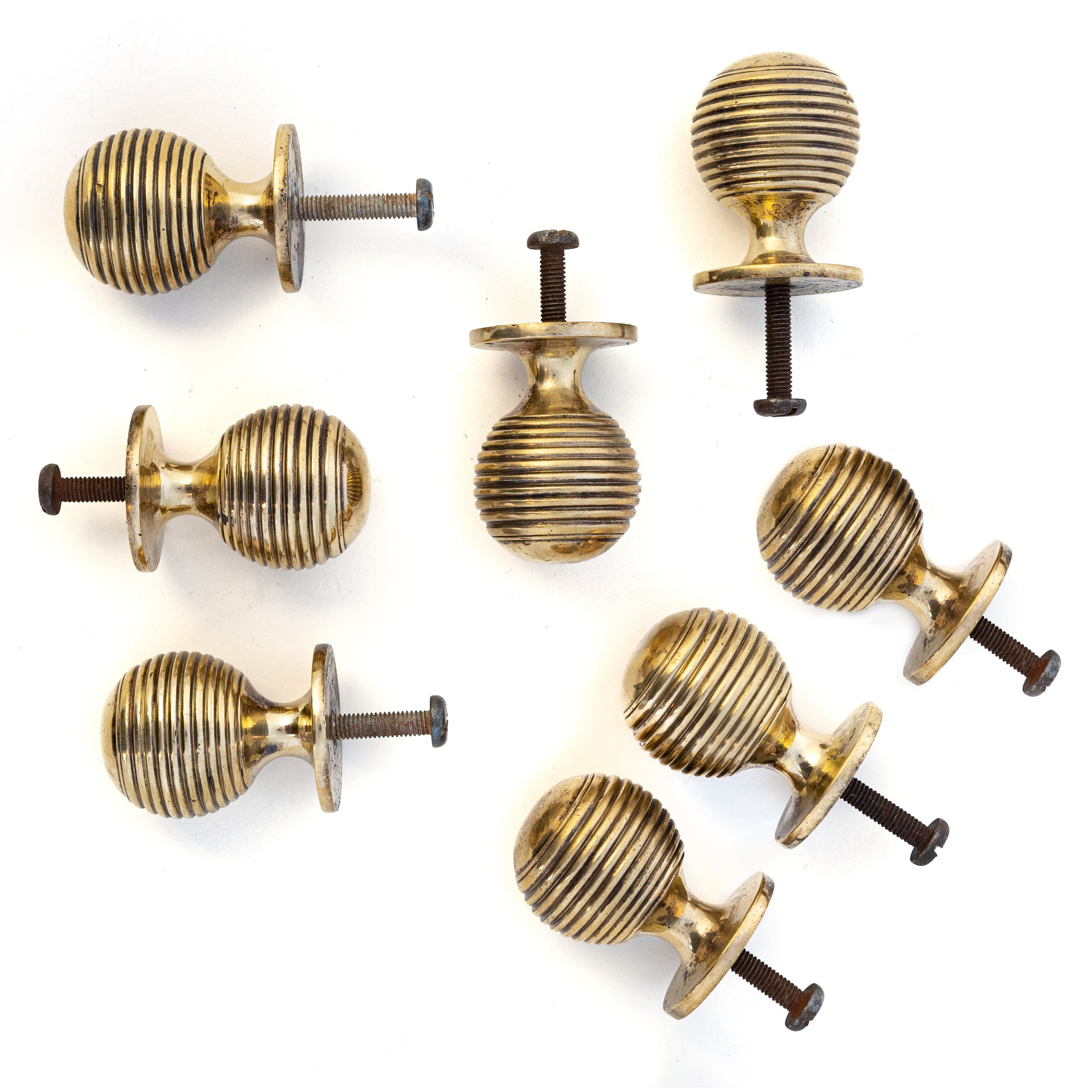 Solid Brass Beehive Cupboard Handles Set of 8