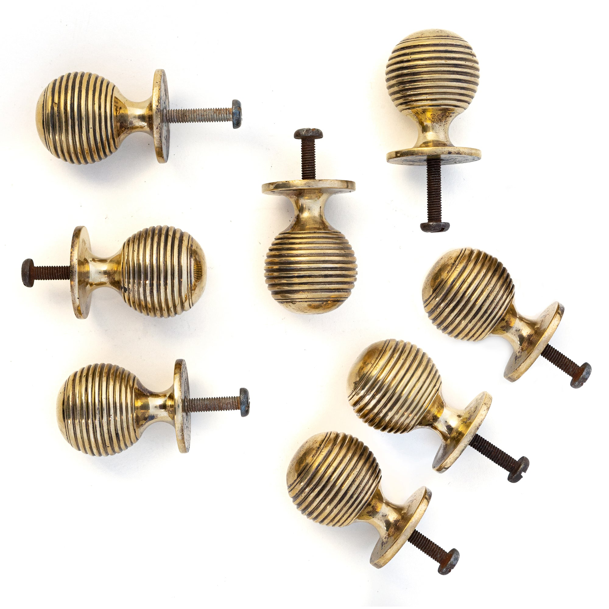 Solid Brass Beehive Cupboard Handles Set of 8 | The Architectural Forum