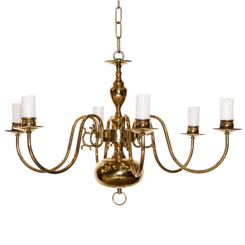 Reclaimed Antique Brass 6 Arm Chandelier