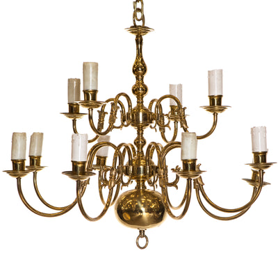 Reclaimed Dutch Style 2 Tier | 12 Arm Tier Brass Chandelier - architectural-forum