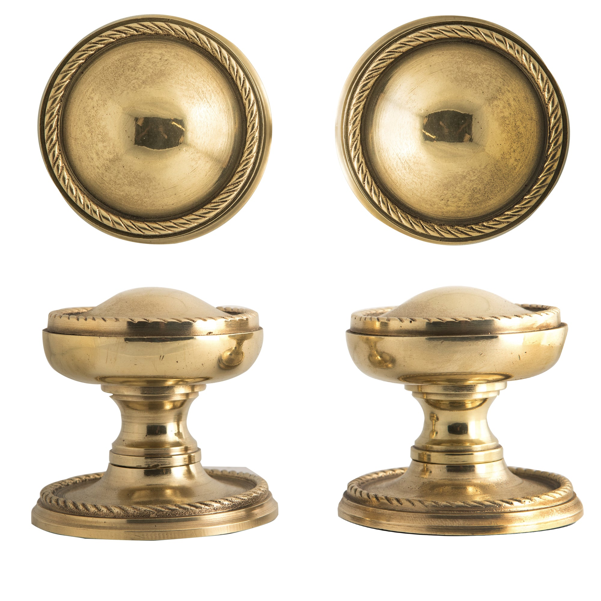 Pair of Reclaimed Solid Brass Pull Handles - architectural-forum