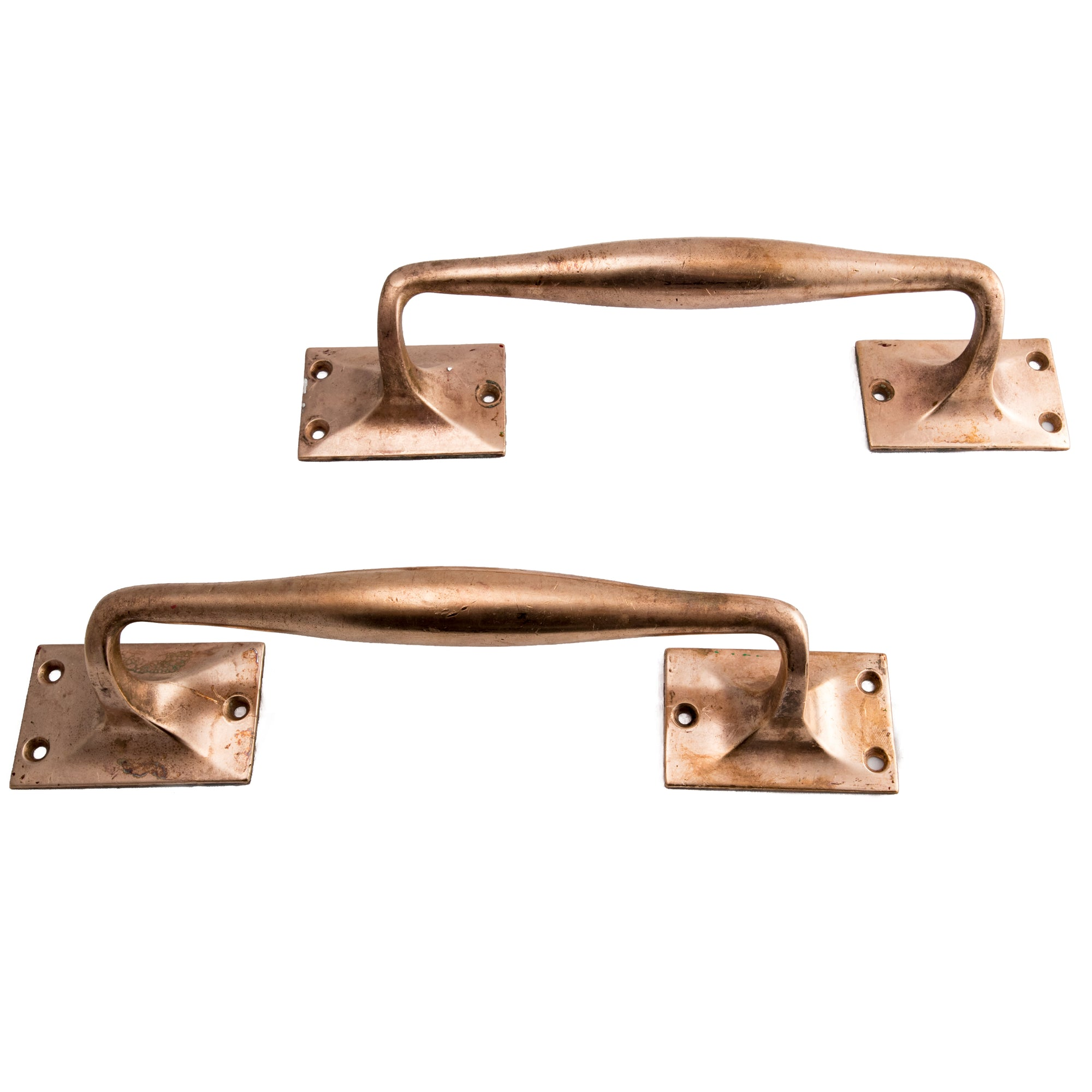 Reclaimed Art Deco Rose Brass Door Pull Handles - architectural-forum