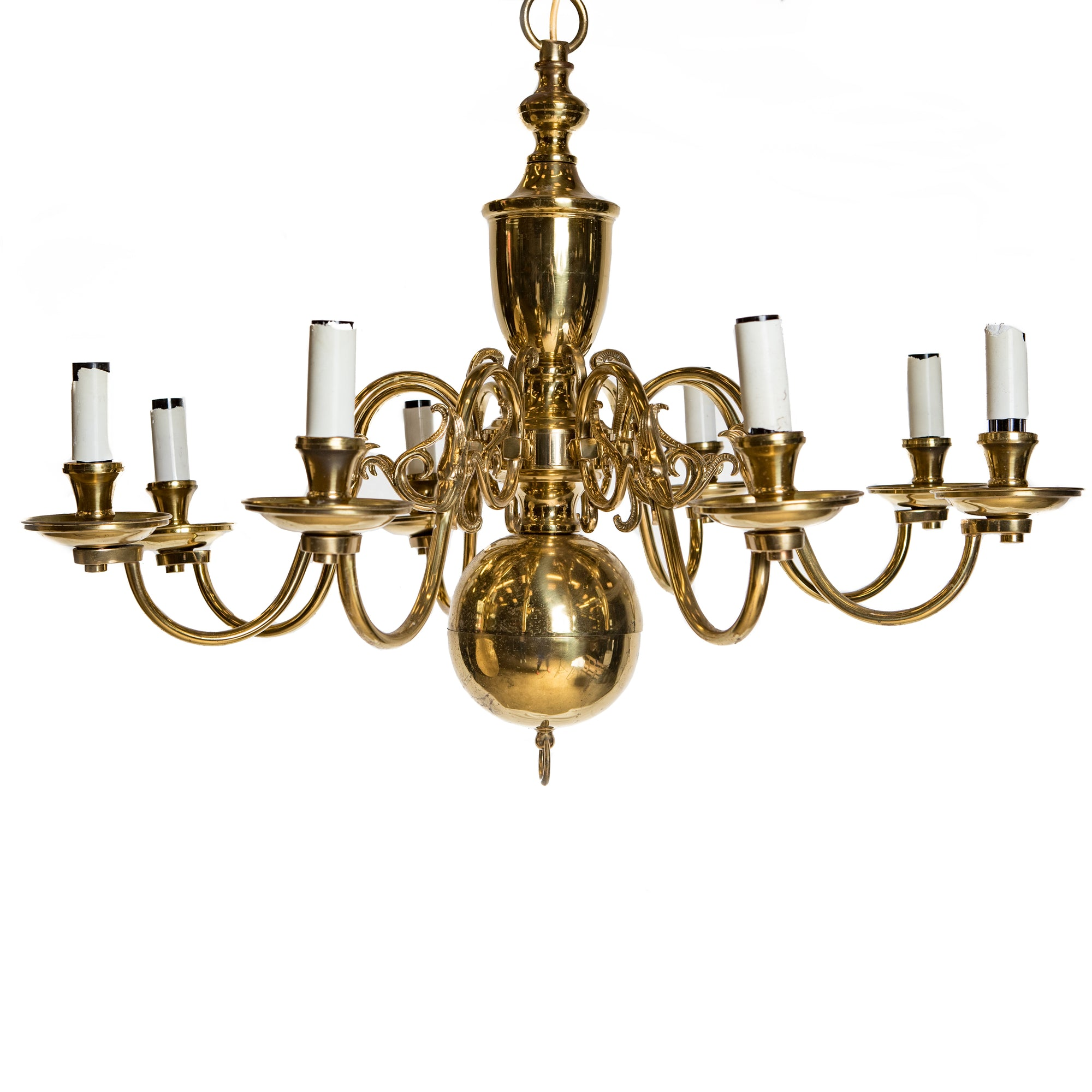 Reclaimed Antique Brass 8 Arm Chandelier - architectural-forum