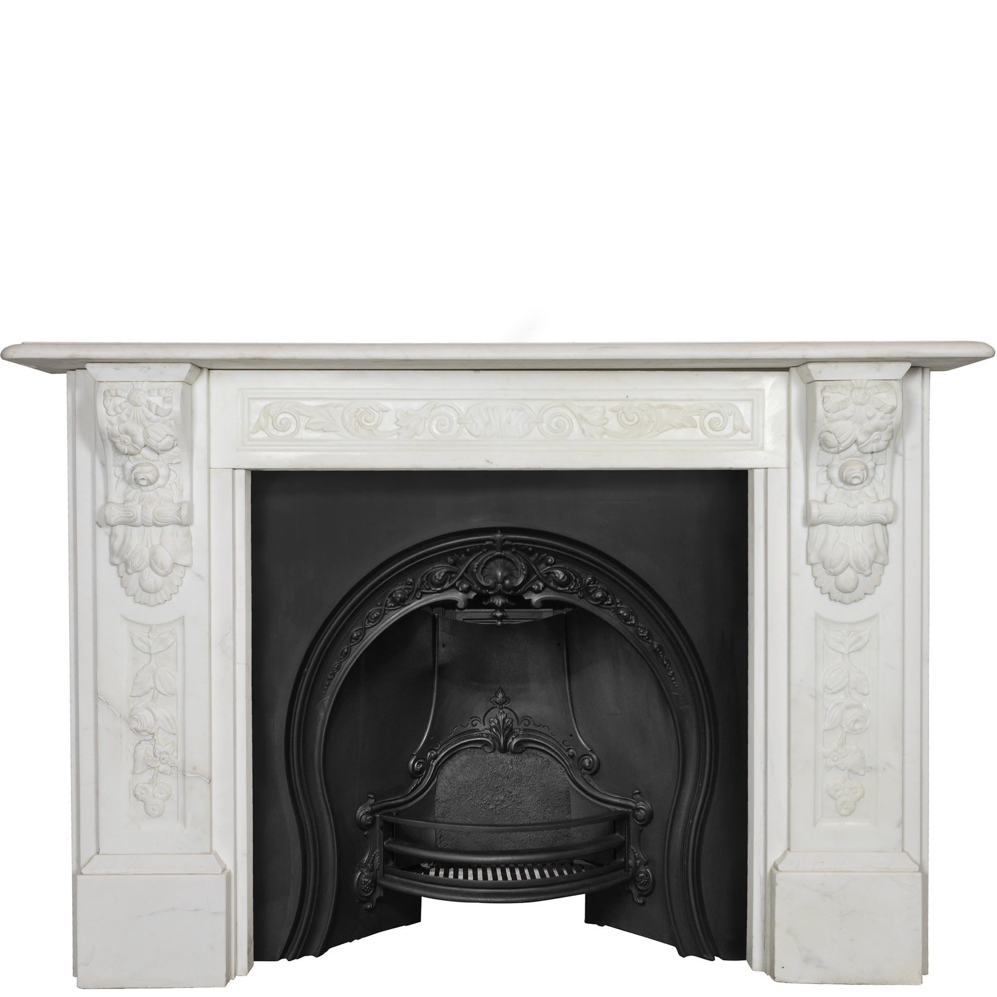 Reclaimed Victorian Style Carved Marble Fireplace Surround