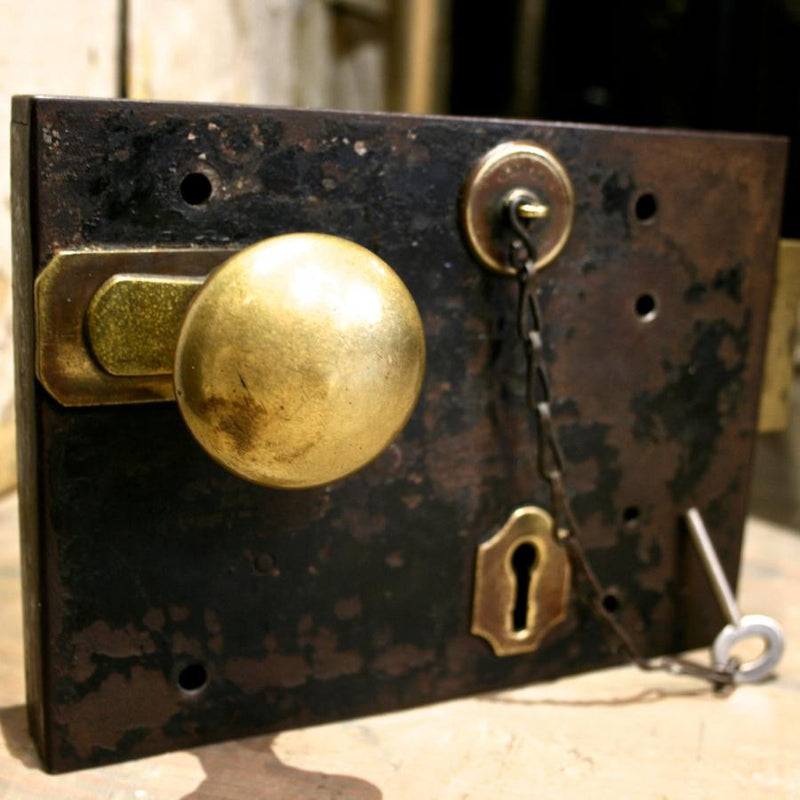 Antique brass lock and key