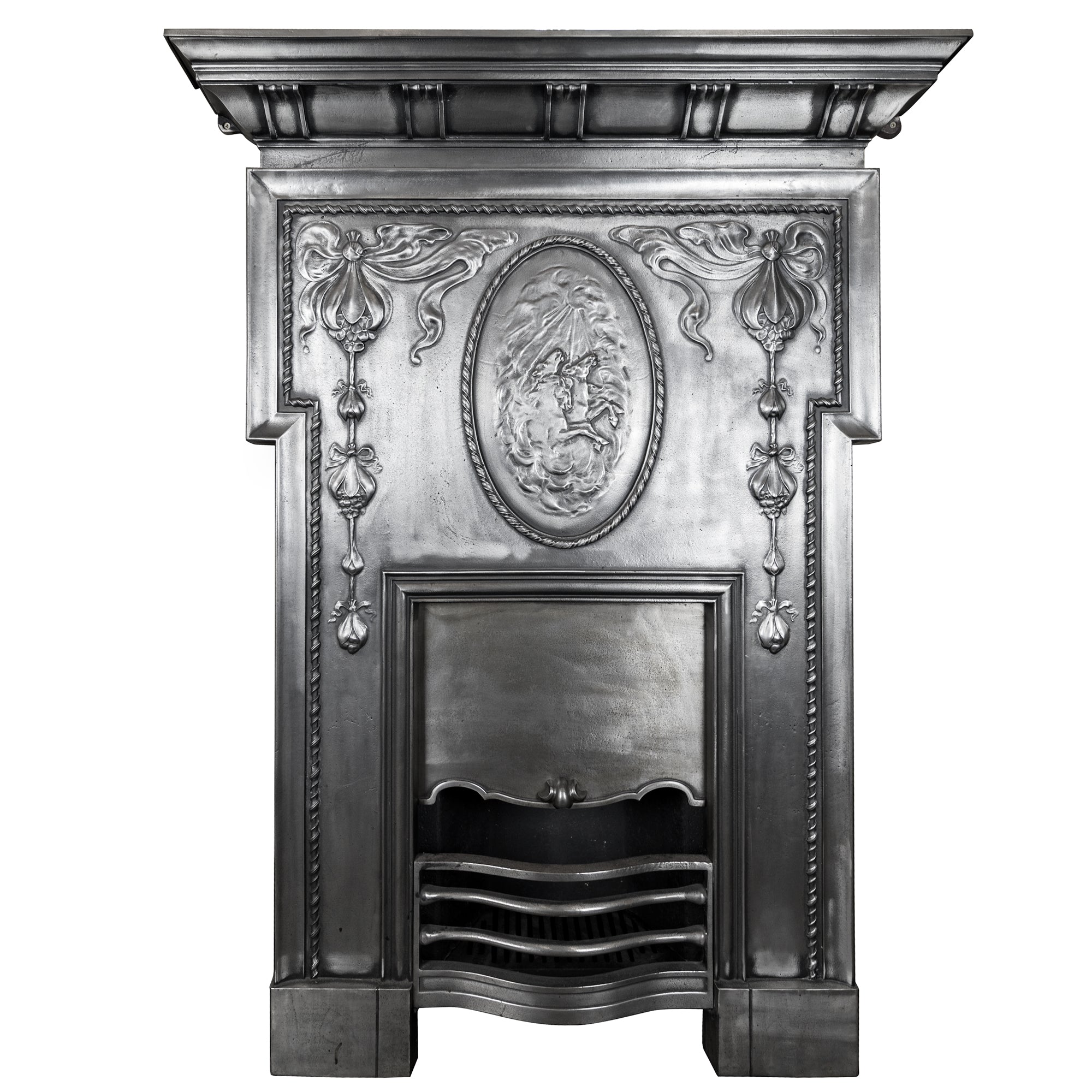 Antique Edwardian Polished Cast Iron Combination Fireplace