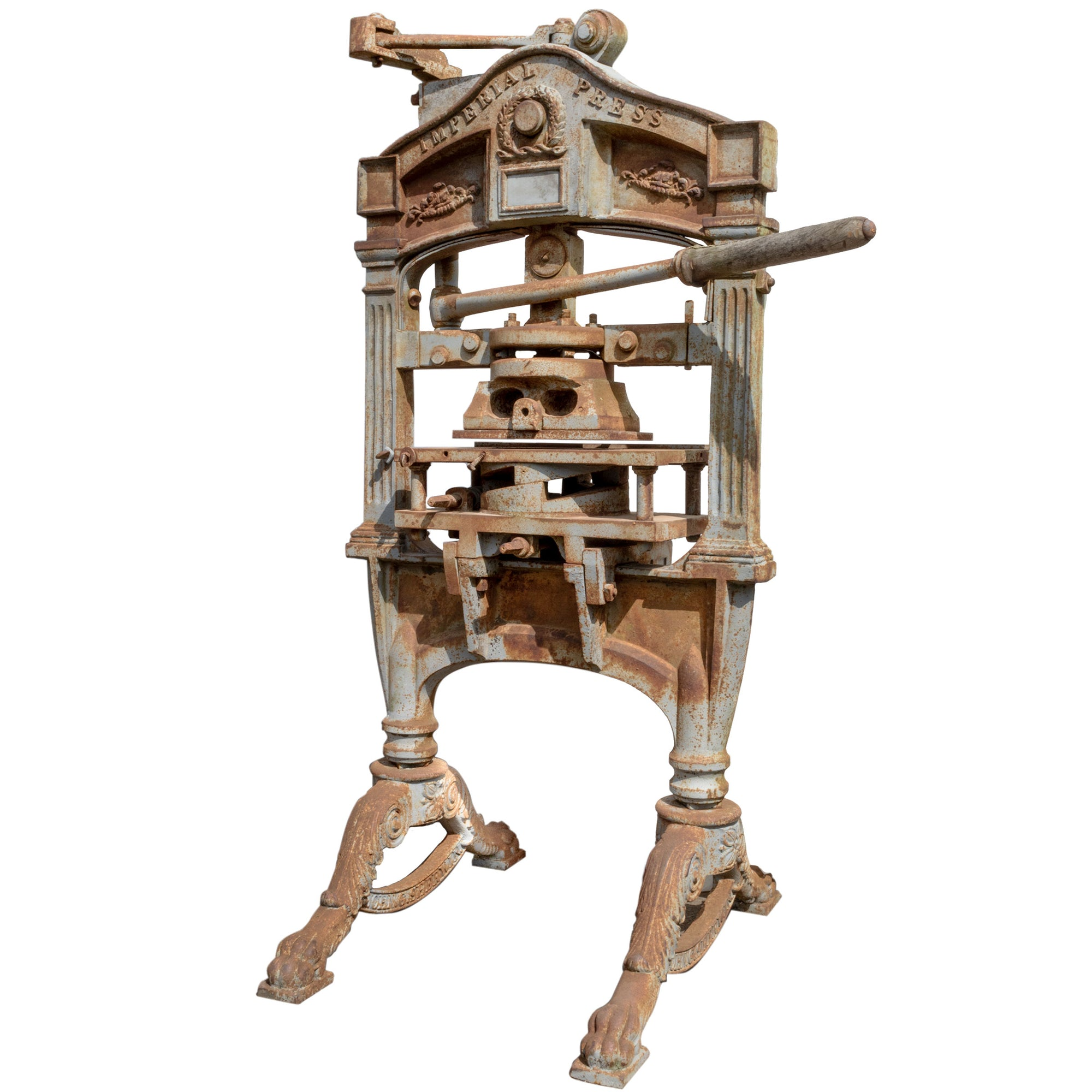 Antique Cast Iron Imperial Printing Press by Sherwin & Cope