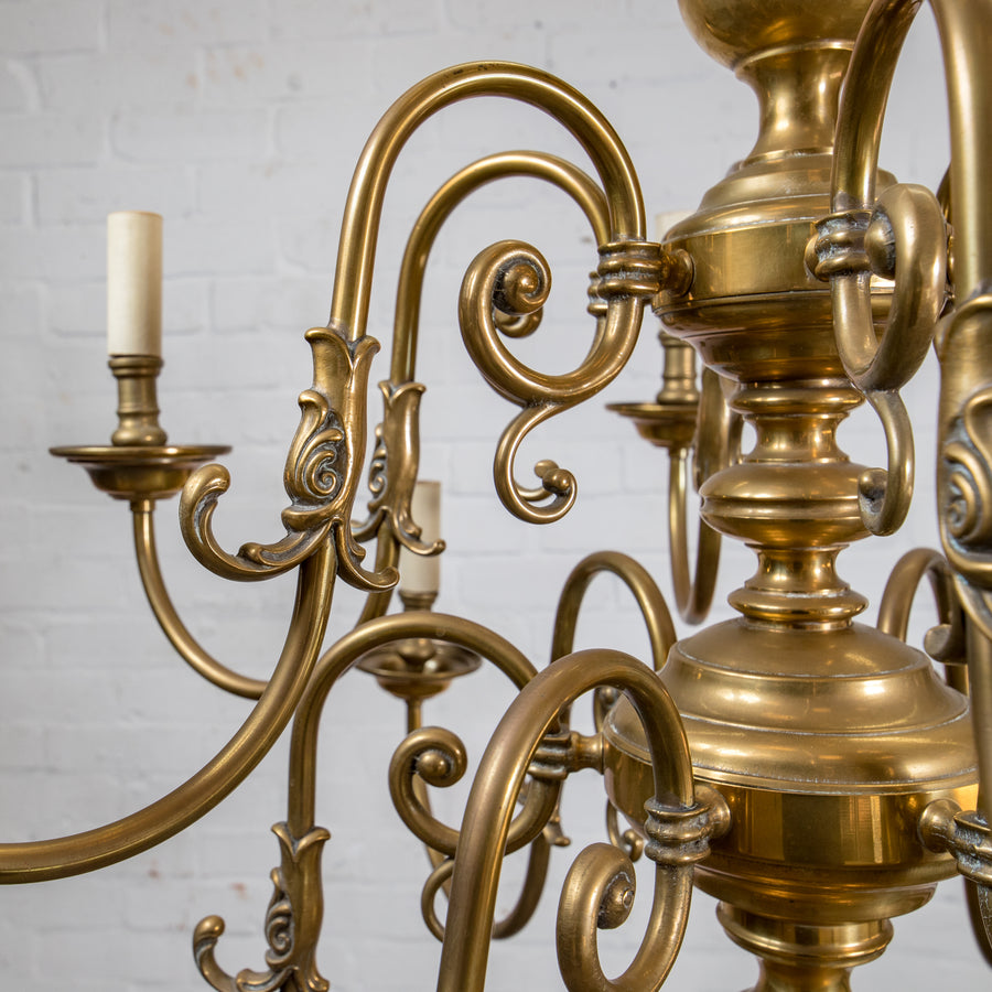Dutch Style 2 Tier 12 Arm Brass Chandelier - The Architectural Forum
