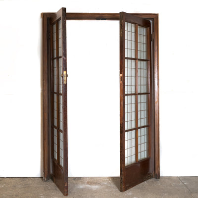 Antique Mahogany Copper Light Doors (2 pairs available) - The Architectural Forum