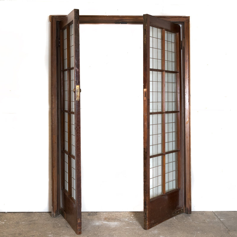 Antique Mahogany Copper Light Doors (2 pairs available)