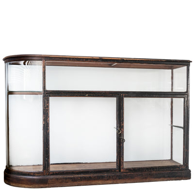 Antique Victorian Curved Oak Glass Display Cabinet
