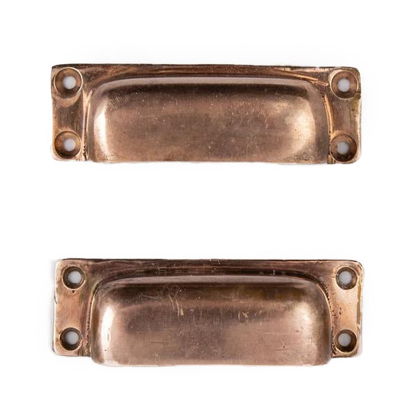 Reclaimed Pair of Rose Brass Drawer Cup Handles