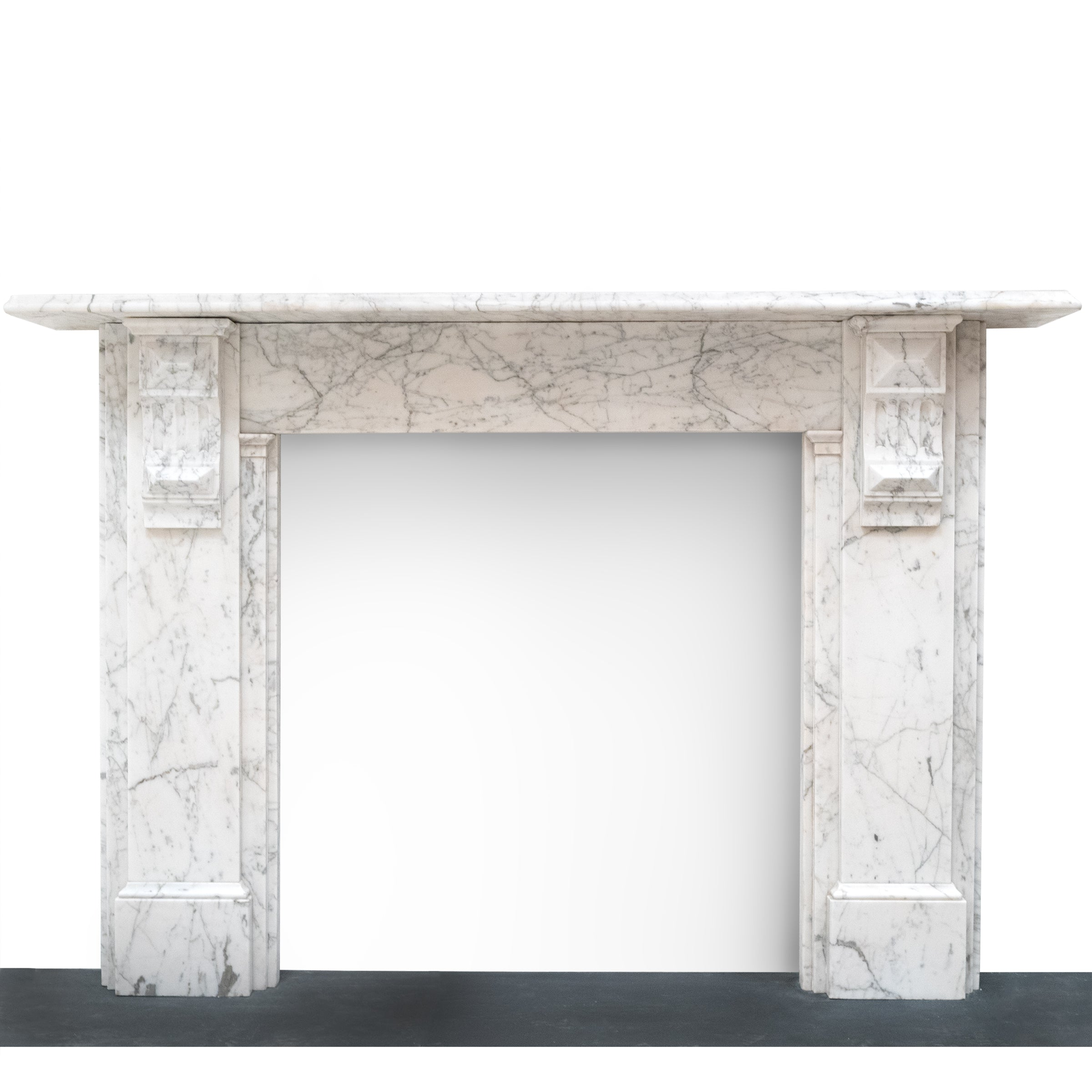 Antique Carrara Marble Fireplace Surround with Corbels (Pair Available)
