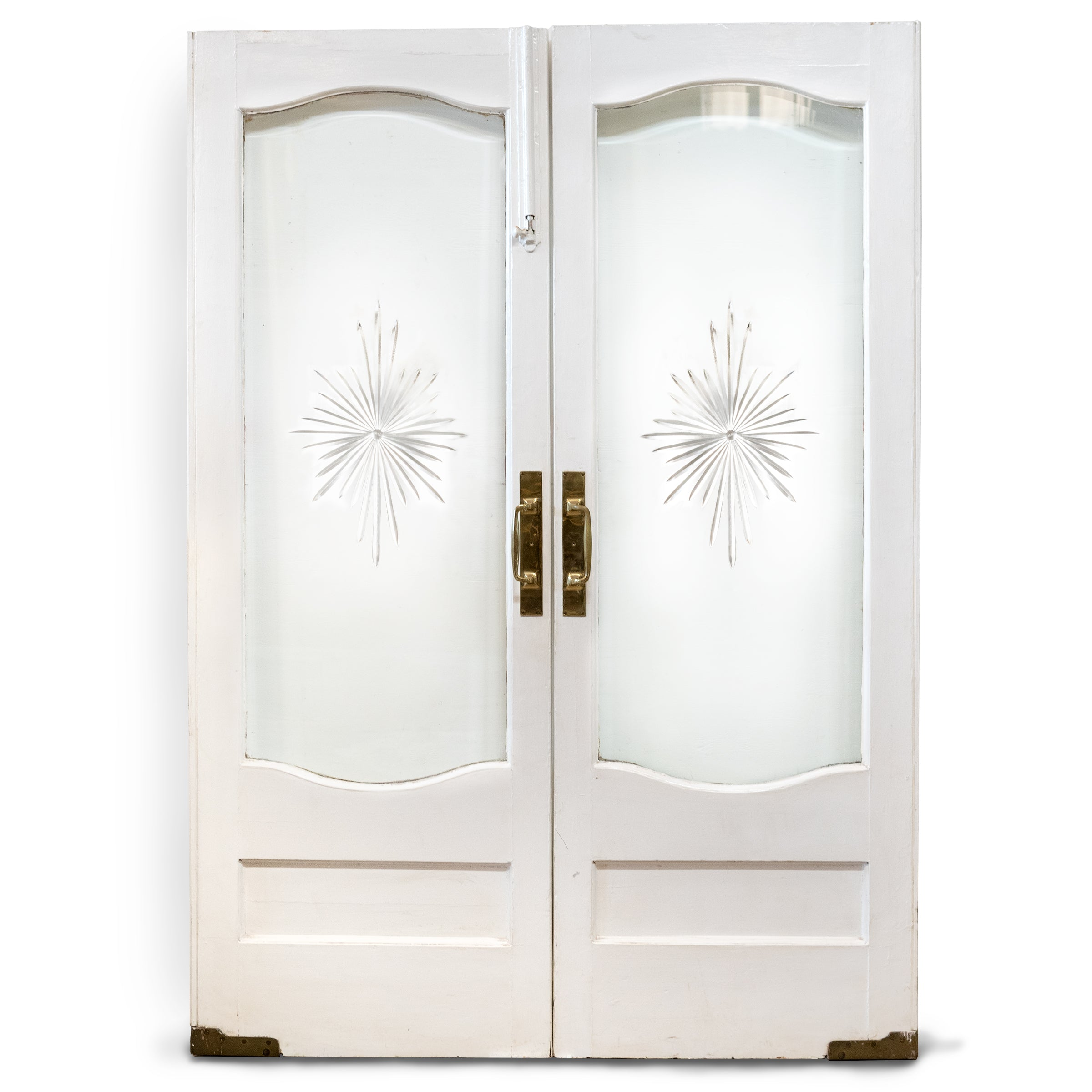 Antique Double Doors with Bevelled & Cut Glass 218.5 x 153.5cm
