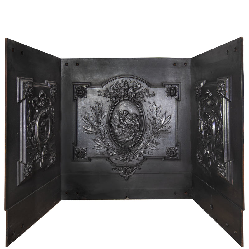 Antique Cast Iron Fire Back Triptych with Cherubs