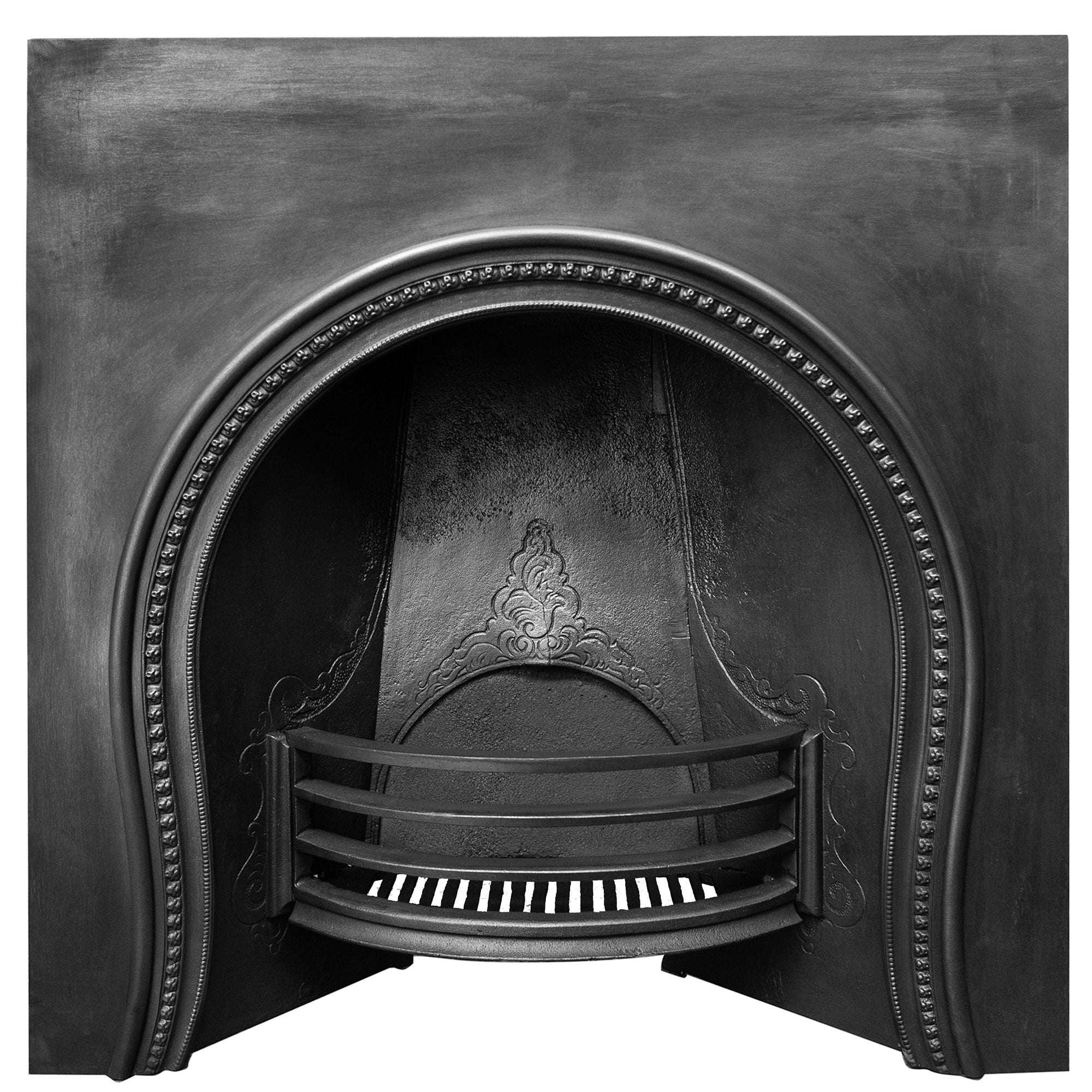 Antique Victorian Cast Iron Fireplace Arched Horseshoe Insert