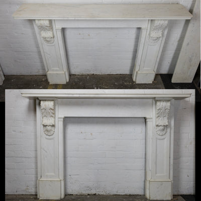 Antique Victorian Statuary Marble Carved Corbel Fireplace Surround