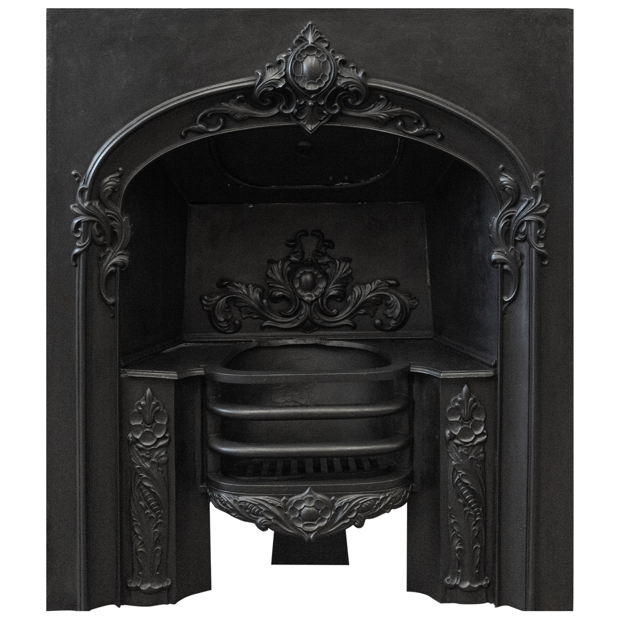 Antique Early Victorian Cast Iron Fireplace Insert - architectural-forum