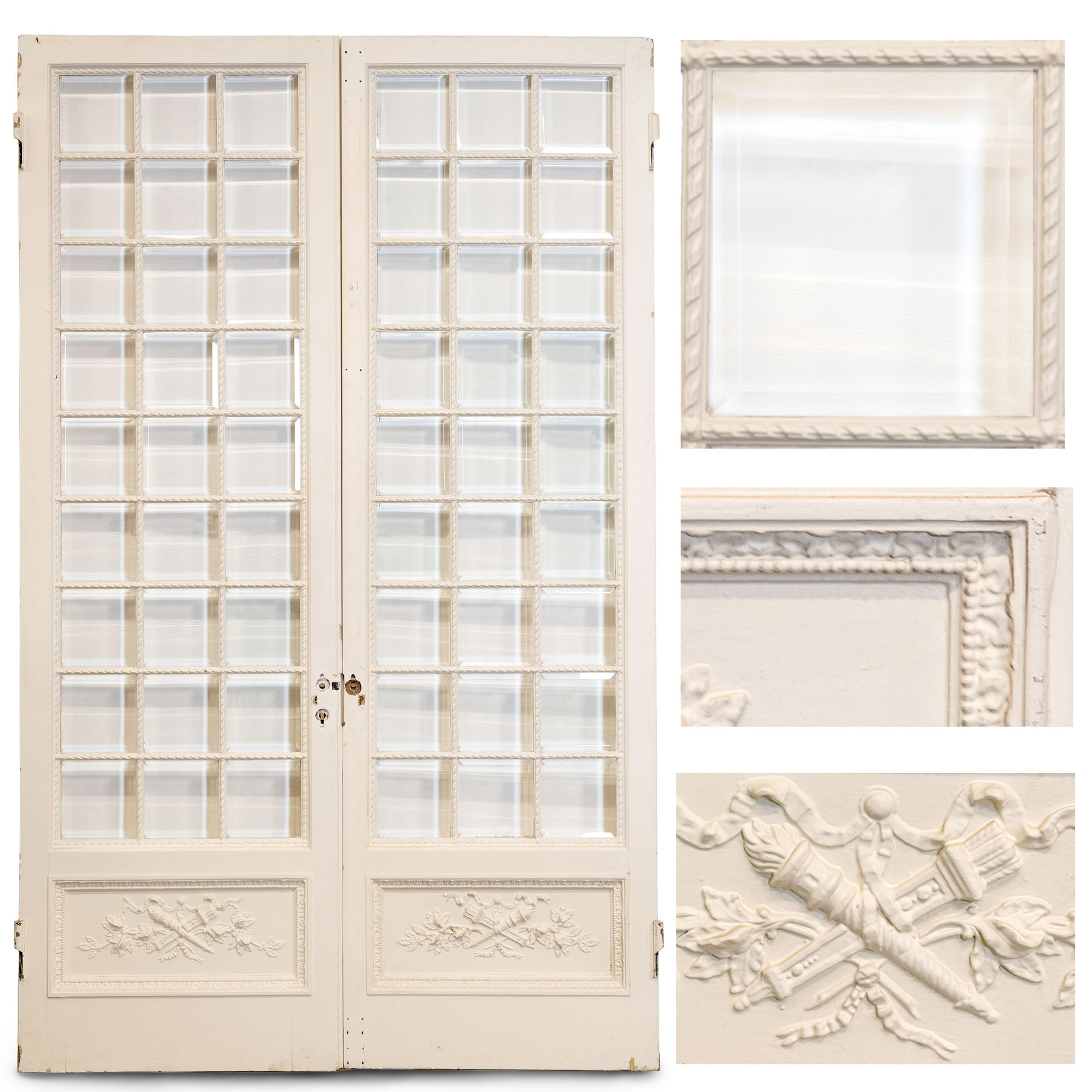 Antique Pine & Gesso Glazed Double Doors (3 pairs available) | The Architectural Forum